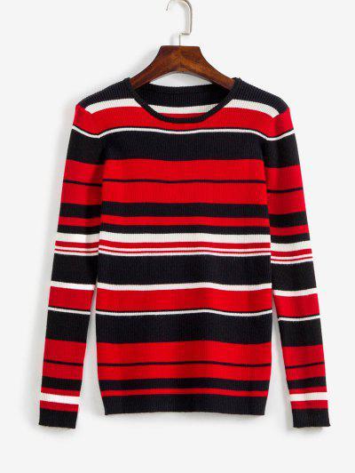 Tricolor Cozy Striped Pullover Sweater - Multi M