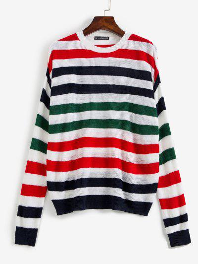 Striped Dropped Shoulder Sweater - Multi M