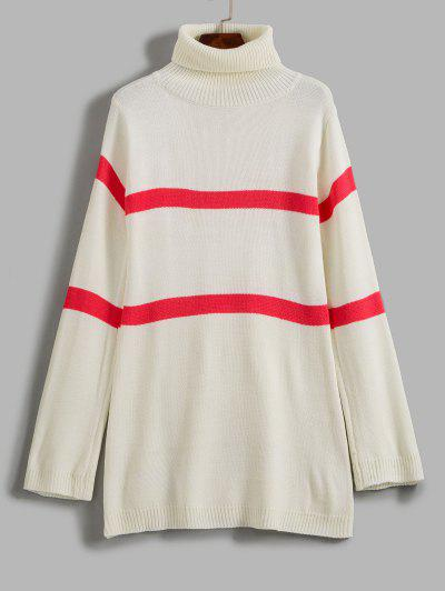 ZAFUL Stripe Turtleneck Sweater - White S