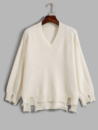 Distressed Oversized Sweater - White