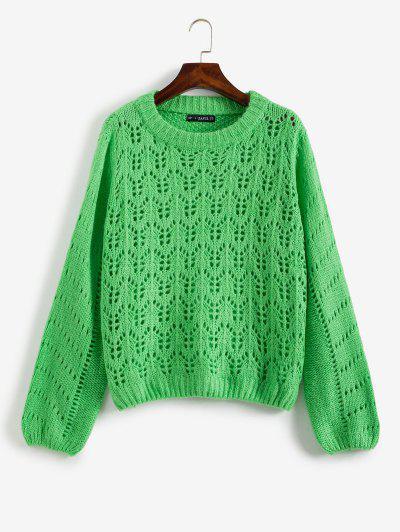 Open Knit Sweater Jumper - Green L