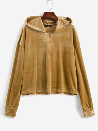 ZAFUL Plus Size Half Zip Velvet Hoodie - Khaki 4x