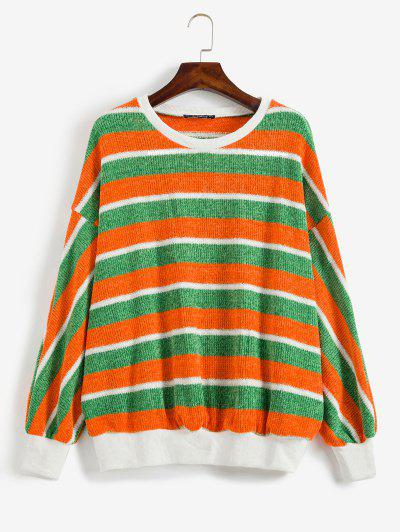 ZAFUL Contrast Striped Sparkly Christmas Sweater - Multi S
