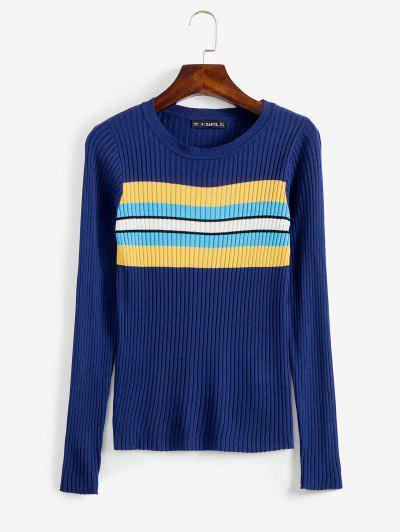 ZAFUL Stripes Panel Ribbed Sweater - Deep Blue M