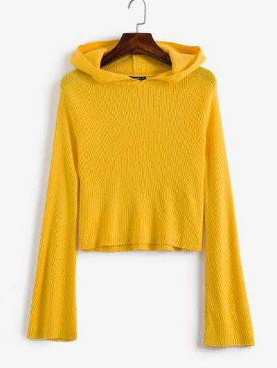 ZAFUL Ribbed Hooded Cropped Sweater - Yellow M