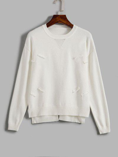 Distressed Crew Neck Sweater - White