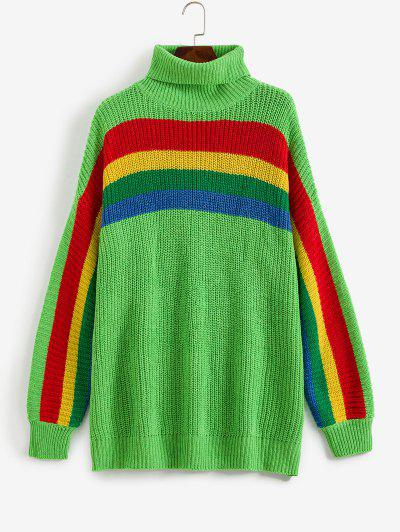 Drop Shoulder Rainbow Stripes Turtleneck Sweater - Yellow Green M