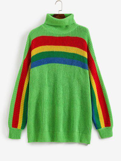 Drop Shoulder Rainbow Stripes Turtleneck Sweater - Yellow Green S