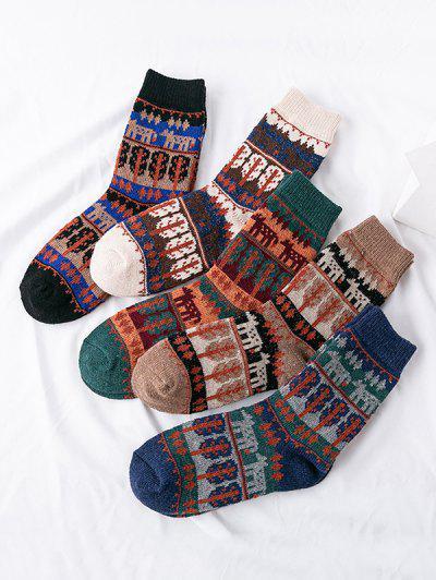 5 Pairs Ethnic Tree Pattern Socks Set - Multi-a
