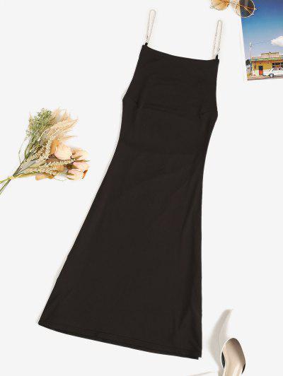 Chains Strap Low Back Bodycon Club Dress - Black L