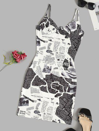 Newspaper Print Underwire Cami Bodycon Dress - White Xs