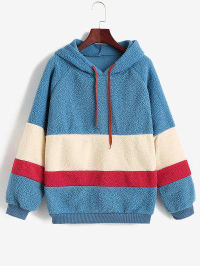 Colorblock Raglan Sleeve Teddy Hoodie - Multi-a