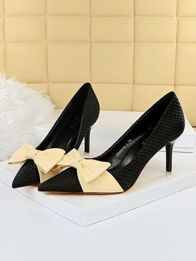 Bowknot Woven High Heel Shoes - Black Eu 37