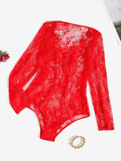 Sheer Lace Long Sleeve Bodysuit - Red