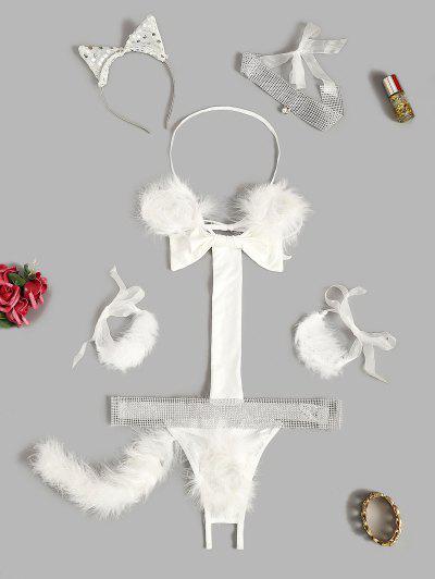 Halter Feather Rhinestone Bowknot Lingerie Cat Costume - White