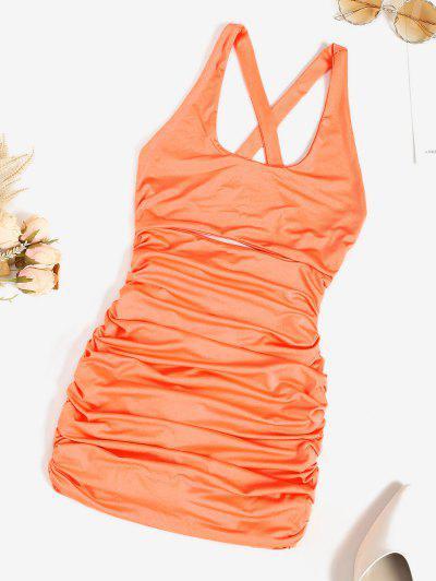 Cutout Ruched Crisscross Back Slinky Dress - Dark Orange M