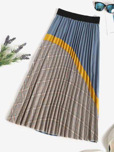 Plaid Knife Pleated Patchwork A Line Skirt - Multi