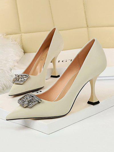 Metal Rhinestone High-heeled Shoes - White Eu 40