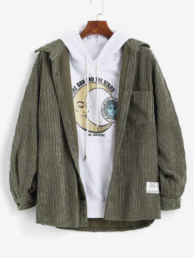 Letter Patched Pocket Corduroy Shirt - Green 2xl