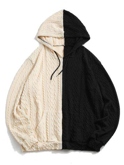 Two Tone Cable Wire Graphic Knit Hoodie - Black M