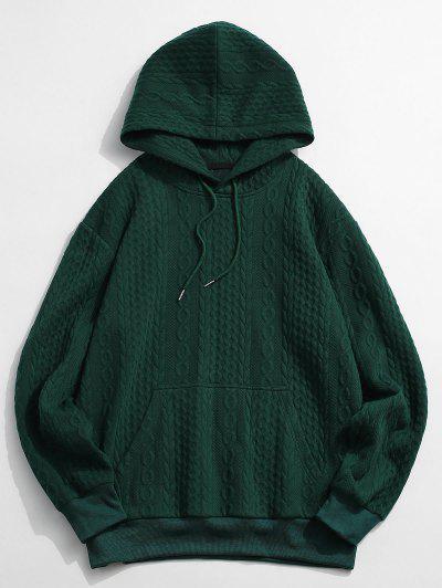 Front Pocket Embossed Pattern Solid Hoodie - Deep Green S