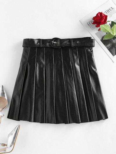 ZAFUL Faux Leather Pleated Belted Mini Skirt - Black S