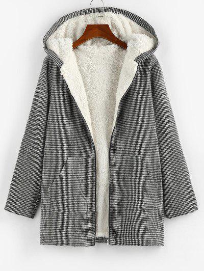 ZAFUL Houndstooth Hooded Fluffy Lined Pocket Tweed Coat - Black S