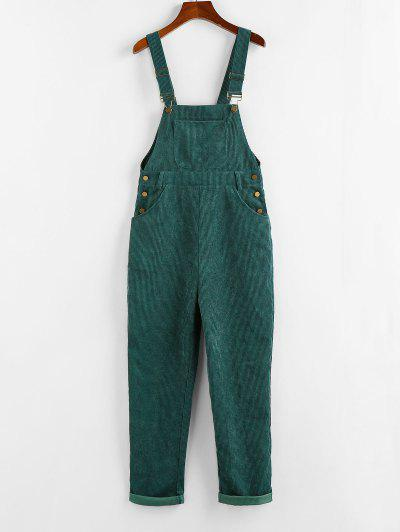 ZAFUL Corduroy Pocket Overall Jumpsuit - Green S