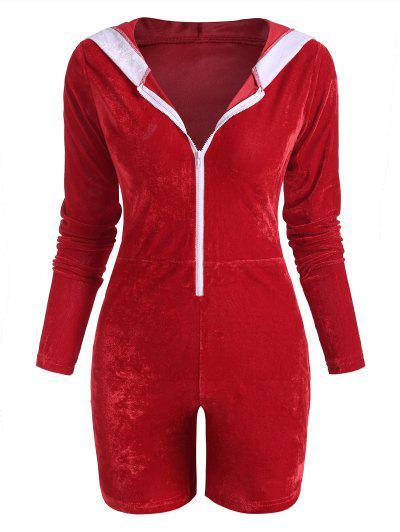 Christmas Pom-pom Hooded Velvet Half Zip Romper - Red S