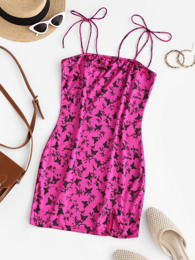 ZAFUL Slit Butterfly Print Mini Bodycon Dress - Rose Red S