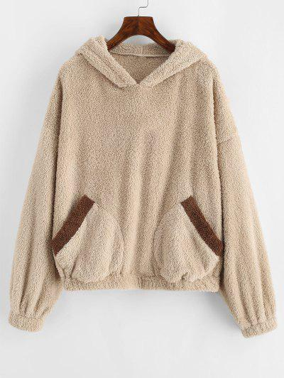ZAFUL Fluffy Drop Shoulder Bear Ear Colorblock Hoodie - Apricot Xl