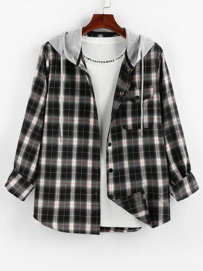ZAFUL Plaid Pattern Pocket Colorblock Hooded Shirt - Multi-b 2xl