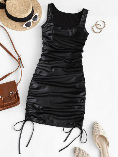 ZAFUL Faux Leather Cinched Bodycon Dress - Black S