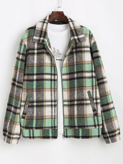 Plaid Pattern Zip Up Wool Jacket - Light Green L