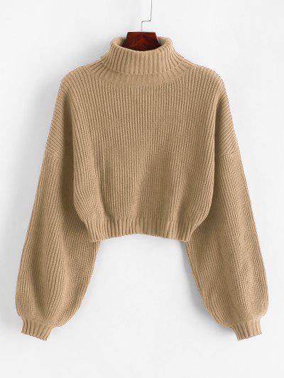 ZAFUL Turtleneck Lantern Sleeve Cropped Sweater - Camel Brown S