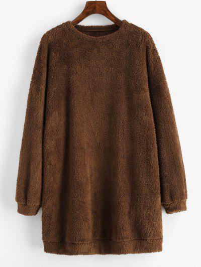 ZAFUL Plush Faux Fur Sweatshirt Dress - Deep Coffee Xl