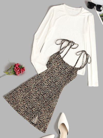 Ribbed Tee And Tie Shoulder Leopard Dress Set - Coffee M