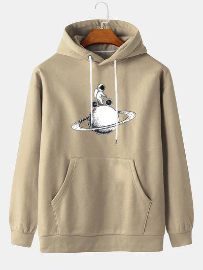 Planet Astronaut Cycling Print Fleece Hoodie - Blanched Almond M