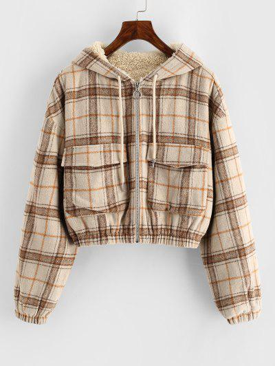 ZAFUL Plaid Hooded Fleece Lined Pocket Jacket - Tan L