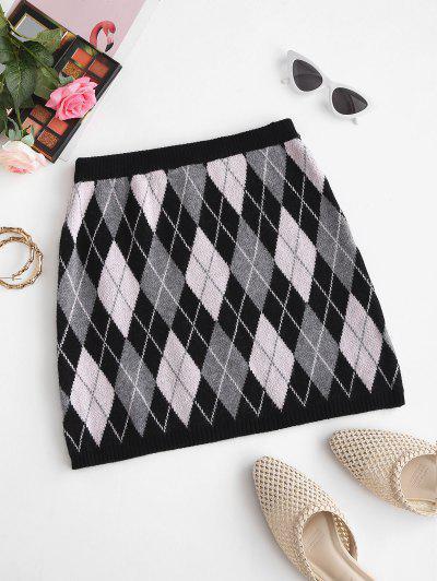 Knitted Argyle Mini Skirt - Black