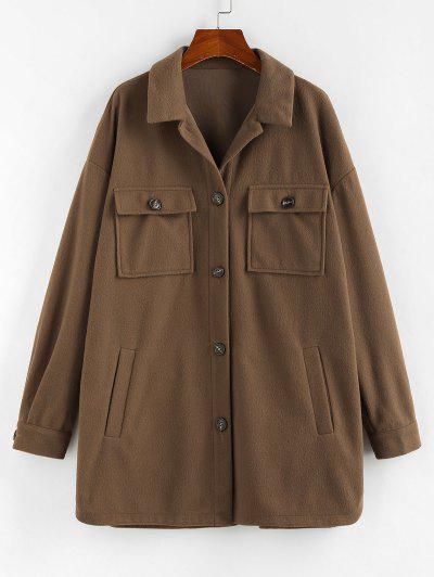 ZAFUL Flap Pocket Drop Shoulder Button Front Tunic Coat - Brown Bear M
