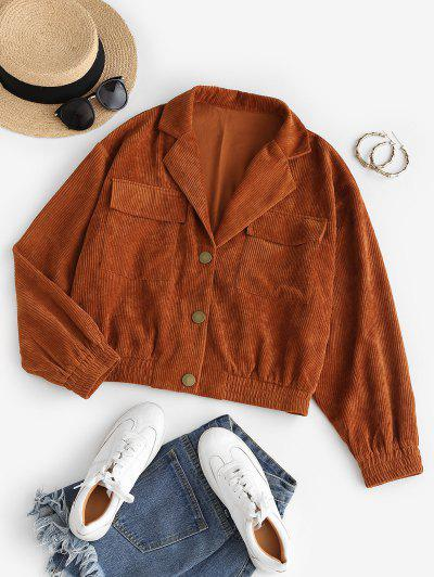 ZAFUL Flap Pockets Corduroy Jacket - Light Brown S