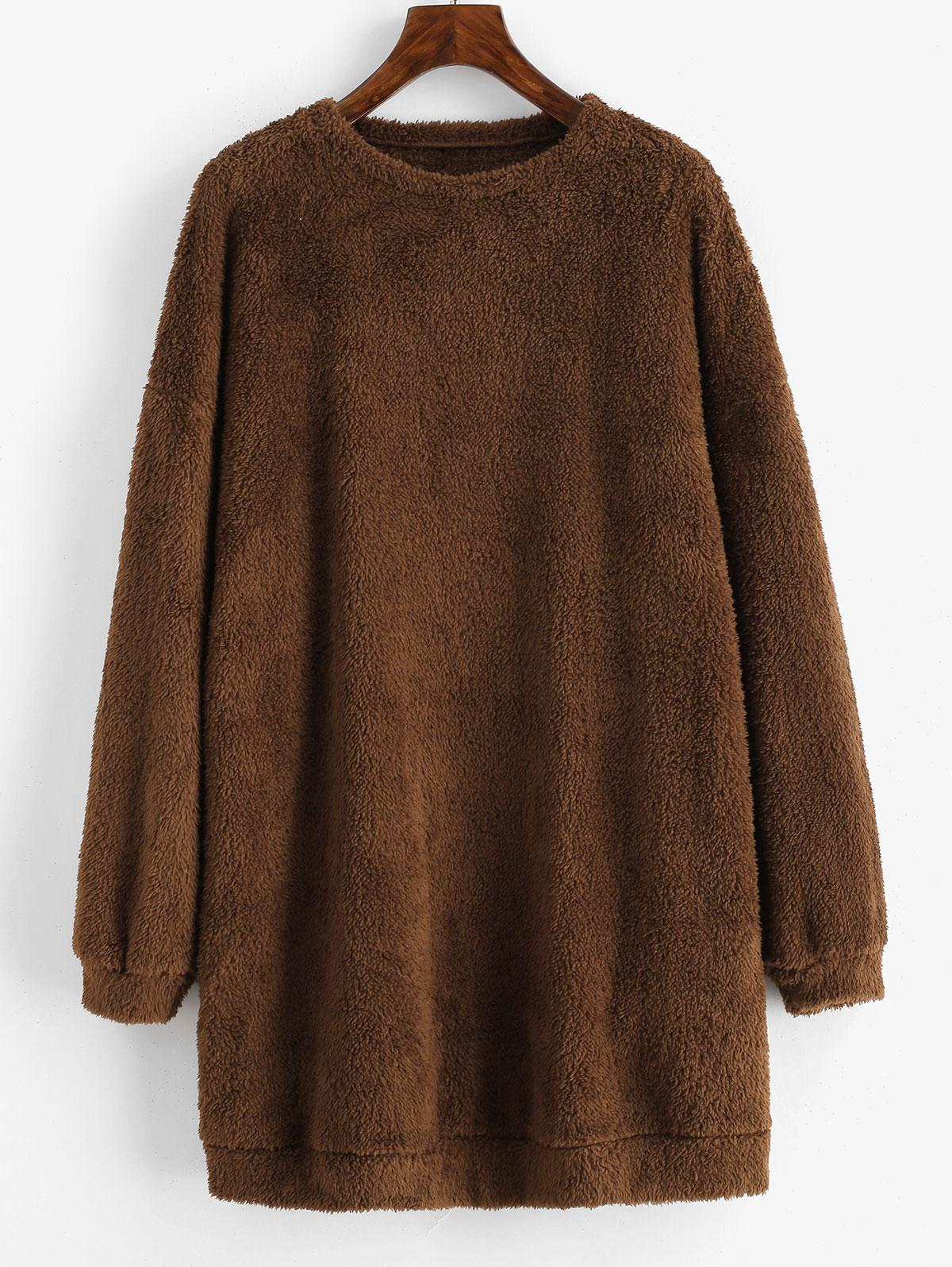 ZAFUL Plush Faux Fur Sweatshirt Dress