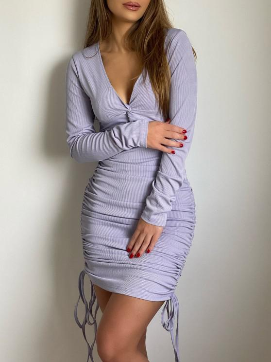 best Ribbed Twist Cinched Tie Ruched Bodycon Dress - LIGHT PURPLE M