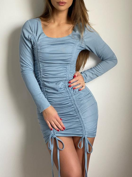 Cinched Front Ribbed Long Sleeve Mini Dress - اللبلاب الأزرق L