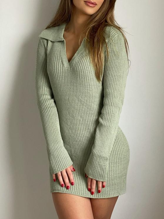 ZAFUL V Notched Mini Bodycon Sweater Dress - اخضر فاتح XL