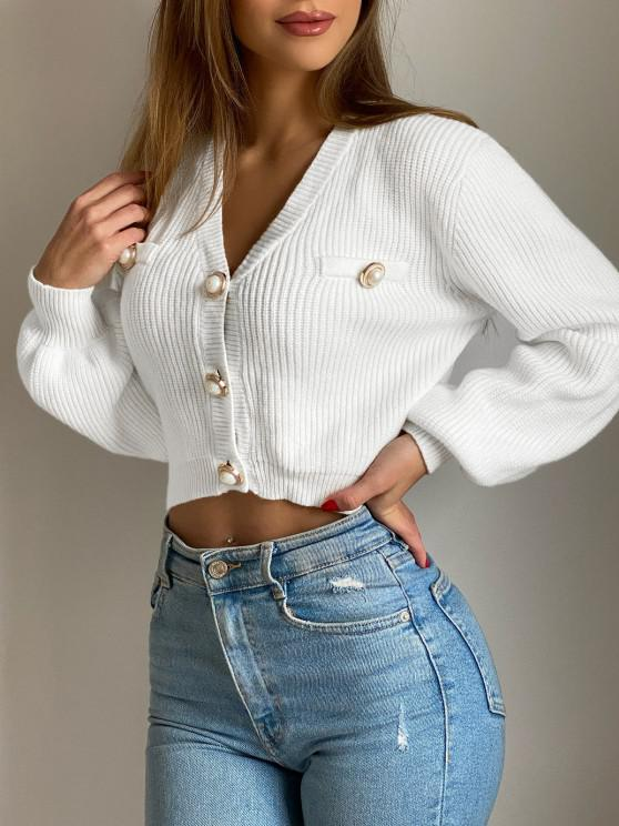 online Flaps Detail Button Up Crop Cardigan - WHITE ONE SIZE