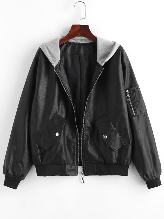 women Zip Up Faux Leather Hooded Combo Jacket - BLACK M