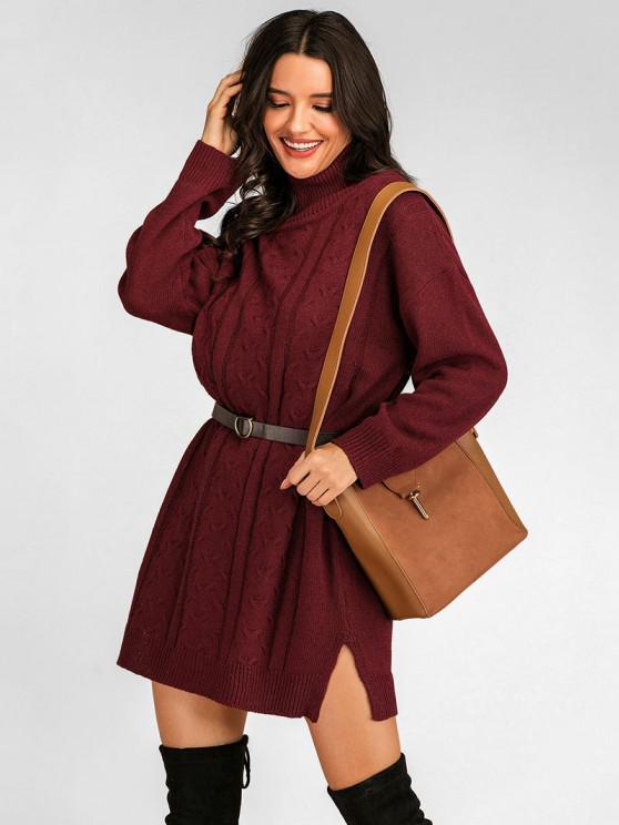 lady High Neck Drop Shoulder Slit Sweater Dress - DEEP RED L