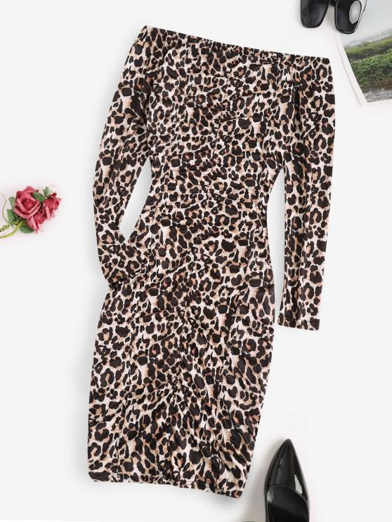 Leopard Ruched Off Shoulder Bodycon Dress - أسود S